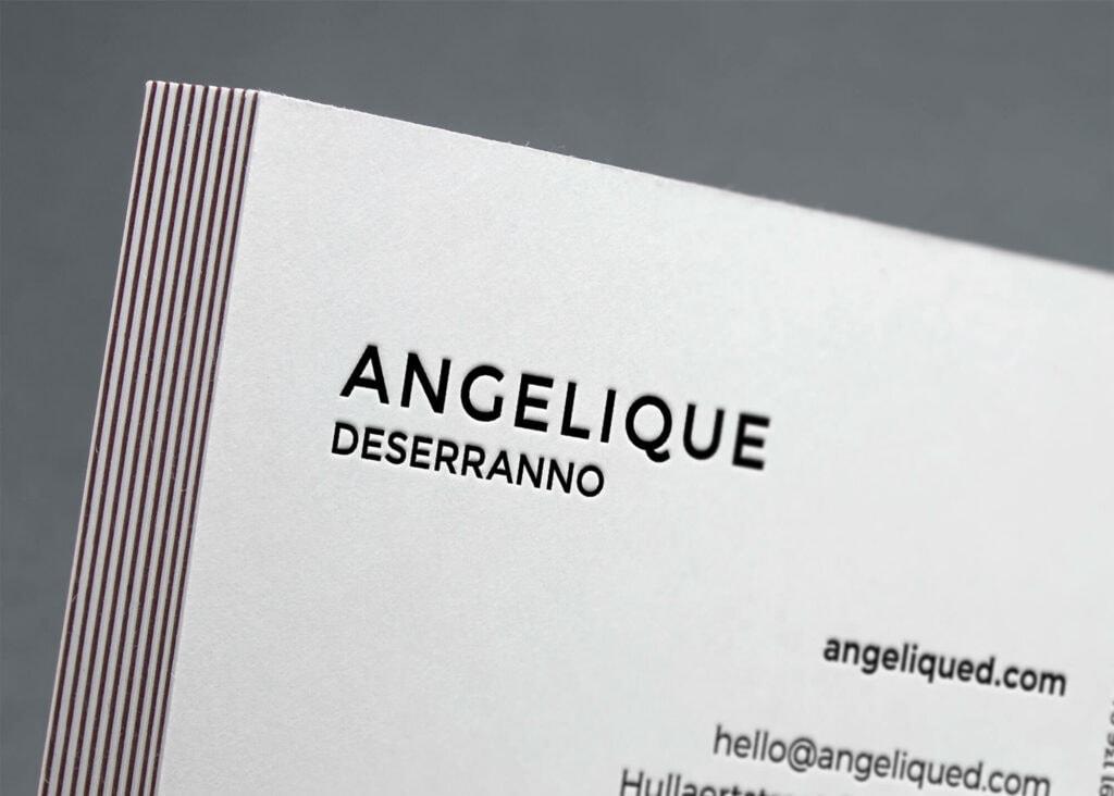 Letterpress visitekaartje angelique