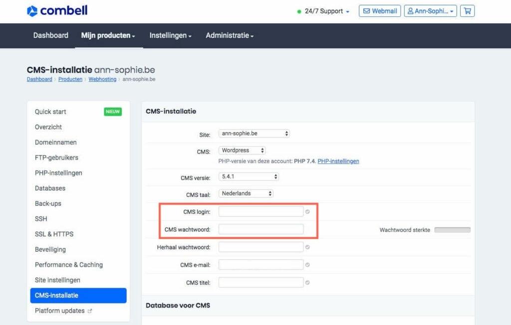 Dashboard combell - 1-klik-installatie - kies geen admin als gebruikersnaam