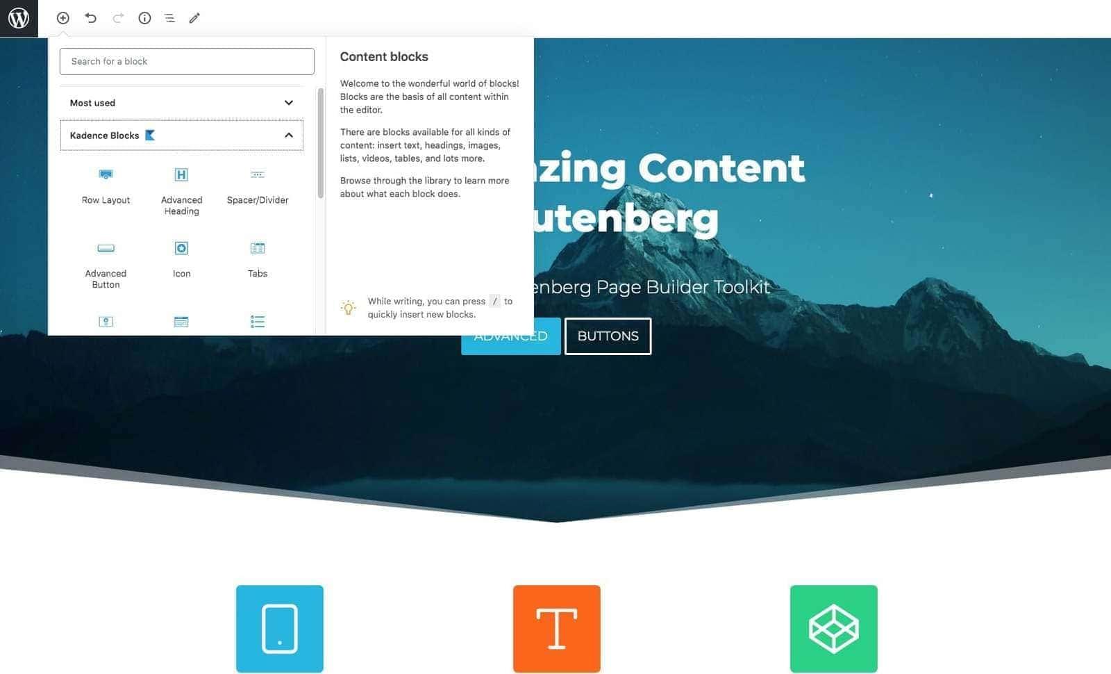 Kadence blocks demo content