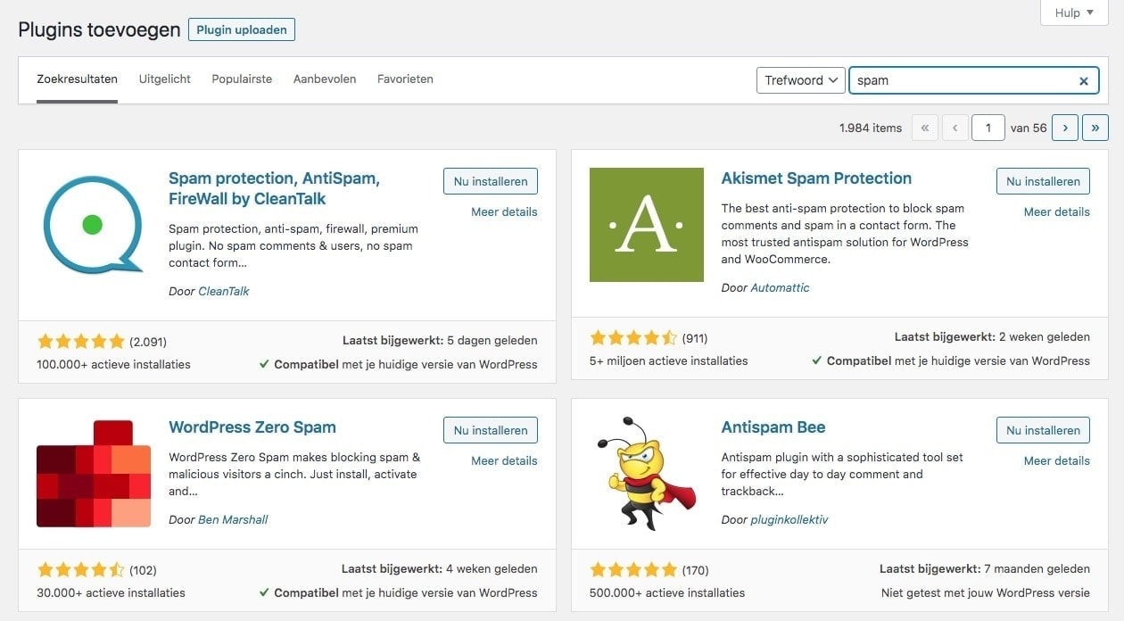 Wordpress plugins eenvoudig installeren via het dashboard