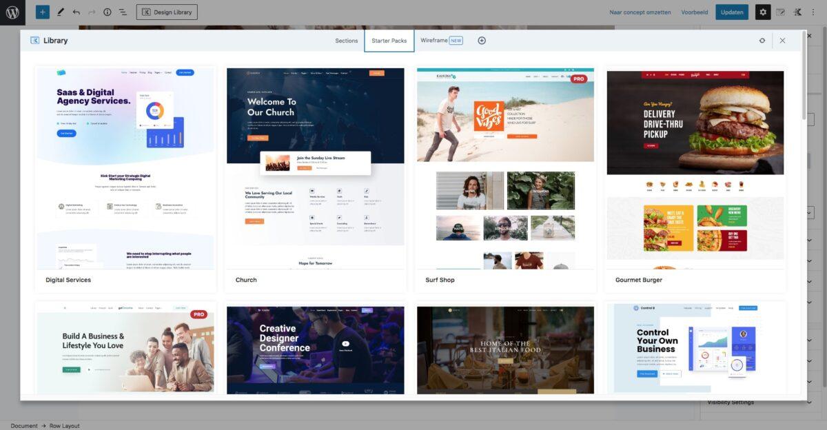 Kadence design library - starter packs
