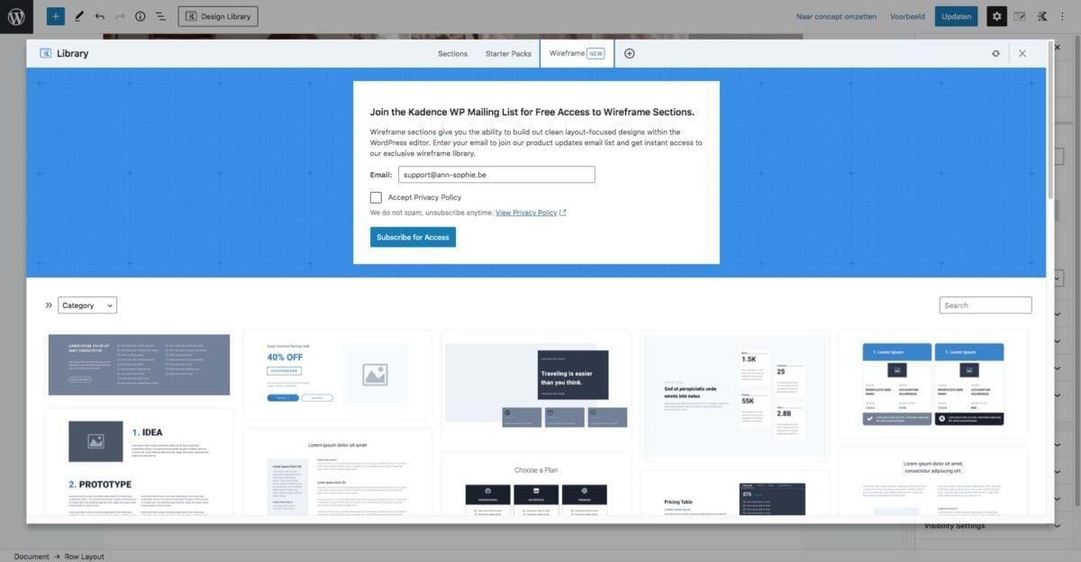 Kadence design library - wireframes