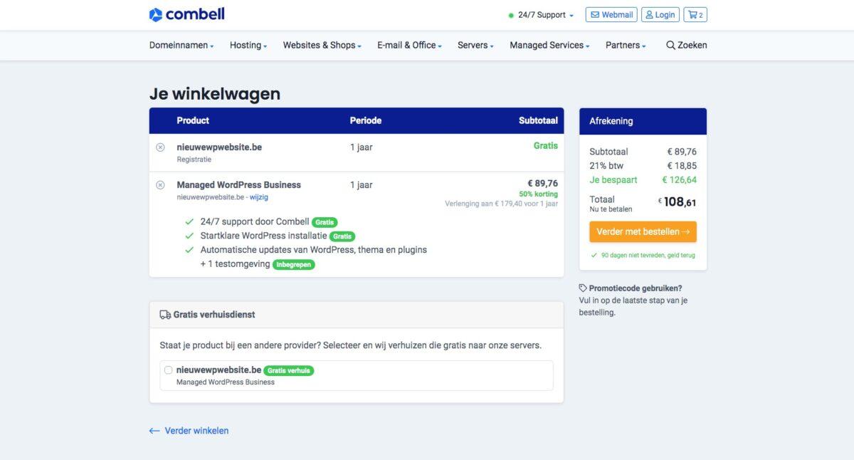 Selecteer startklare website en automatische updates
